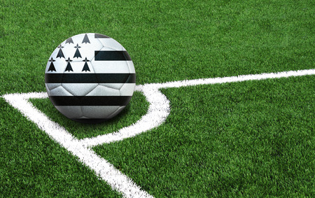The flag of Brittany is depicted on a football, with a good place for your text