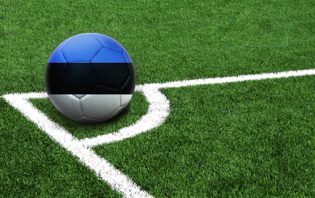 The flag of Estonia is depicted on a football, with a good place for your text