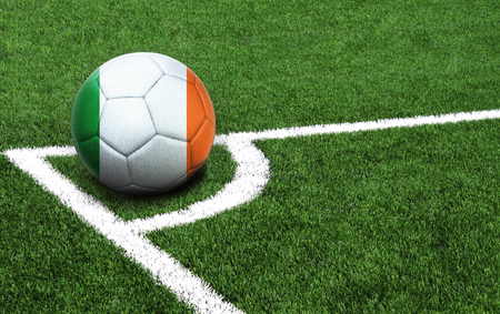 The flag of Ireland is depicted on a football, with a good place for your text