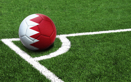 The flag of Bahrain is depicted on a football, with a good place for your text
