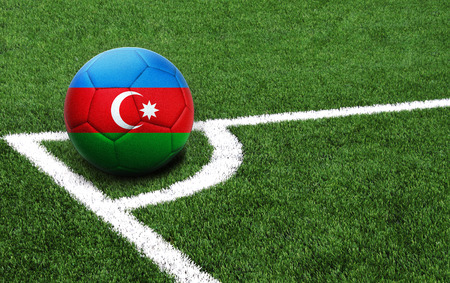 The flag of Azerbaijan is depicted on a football, with a good place for your text Stockfoto