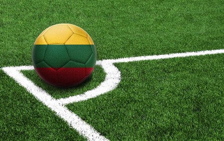 The flag of Lithuania is depicted on a football, with a good place for your text Stockfoto