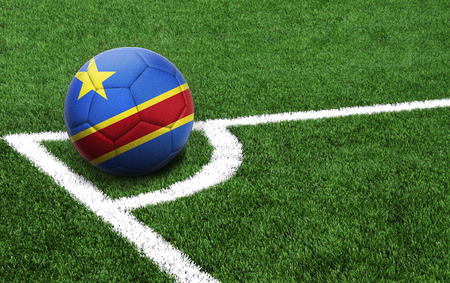 The flag of Congo Democratic is depicted on a football, with a good place for your text Standard-Bild