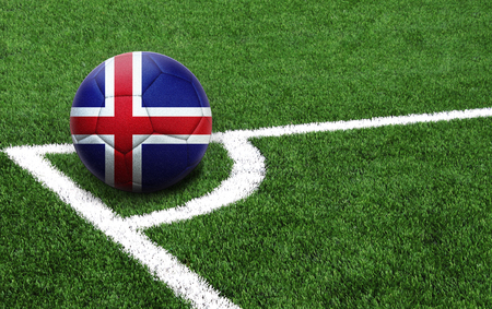 The flag of Iceland is depicted on a football, with a good place for your text