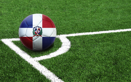 The flag of Dominican Republic is depicted on a football, with a good place for your text Stock Photo - 107627109