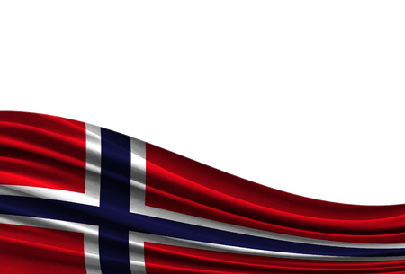 flag of Norway isolated on white background with place for your text.