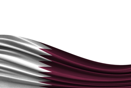 flag of Qatar isolated on white background with place for your text. Stock Photo