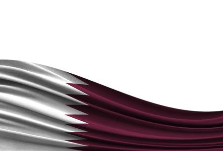 Flagge von Katar lokalisiert auf weißem Hintergrund mit Platz für Ihren Text.