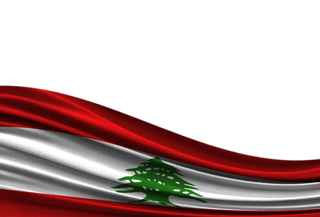 flag of Lebanon isolated on white background with place for your text. Stock Photo