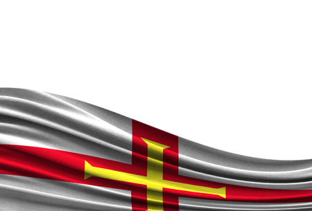 flag of Guernsey isolated on white background with place for your text. 写真素材 - 107996499