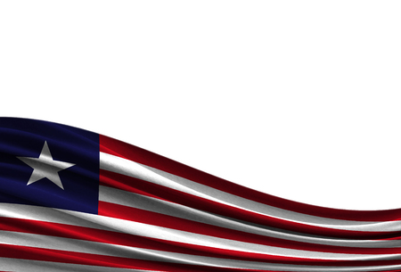 flag of Liberia isolated on white background with place for your text.