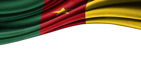 Grunge colorful flag of Cameroon with copyspace for your text or images,isolated on white background. Close up, fluttering downwind.