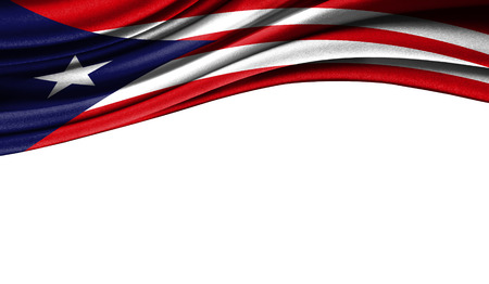 Grunge colorful flag of Puerto Rico with copyspace for your text or images,isolated on white background. Close up, fluttering downwind.