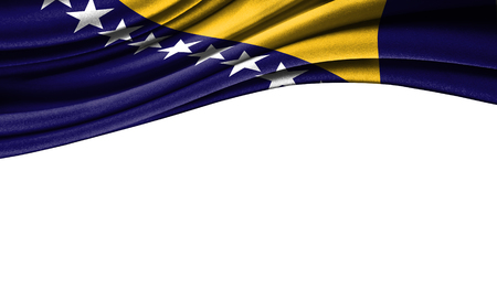 Grunge colorful flag of Bosnia and Herzegovina with copyspace for your text or images,isolated on white background. Close up, fluttering downwind.