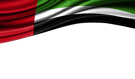 Grunge colorful flag of United Arab Emirates with copyspace for your text or images,isolated on white background. Close up, fluttering downwind.
