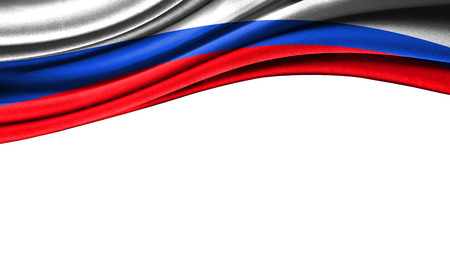 Grunge colorful flag of Russia with copyspace for your text or images,isolated on white background. Close up, fluttering downwind.