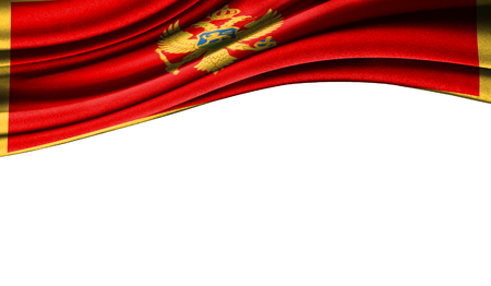 Grunge colorful flag of Montenegro with copyspace for your text or images,isolated on white background. Close up, fluttering downwind.