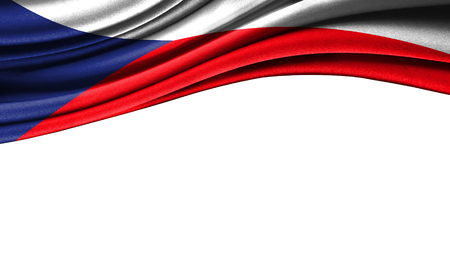 Grunge colorful flag of Czech Republic with copyspace for your text or images,isolated on white background. Close up, fluttering downwind.