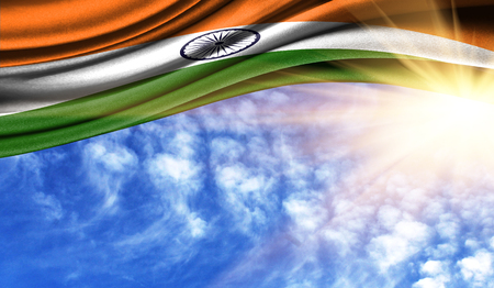 the flag of India in the rays of the summer sun, in the sky, photography has a good place for your text.