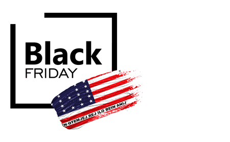 Black Friday shopping sale concept. Isolated on a white background, has place for your text. Can be used as a mockup for a designer. Paint stroke with Bikini Atoll flag