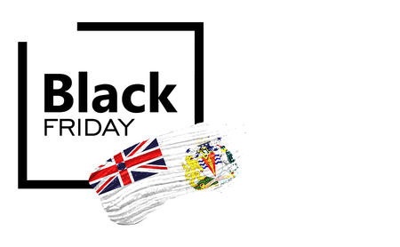 Black Friday shopping sale concept. Isolated on a white background, has place for your text. Can be used as a mockup for a designer. Paint stroke with British Antarctic Territory flag Stock Photo