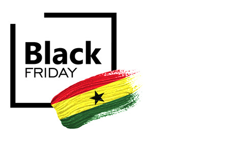 Black Friday shopping sale concept. Isolated on a white background, has place for your text. Can be used as a mockup for a designer. Paint stroke with Ghana flag Standard-Bild