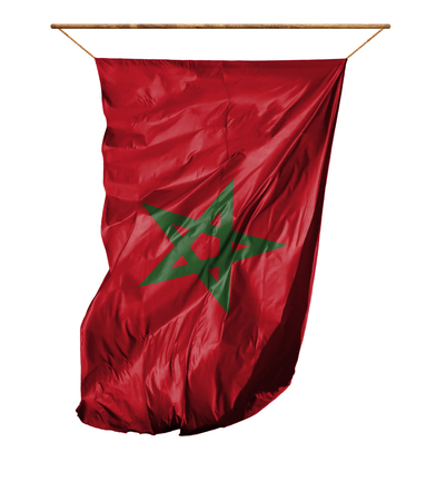 Flag of Morocco. Vertical flag.Isolated on a white background.