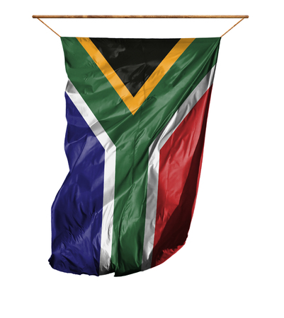 Flag of South Africa. Vertical flag.Isolated on a white background. Stock Photo