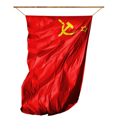 Flag of USSR. Vertical flag.Isolated on a white background.