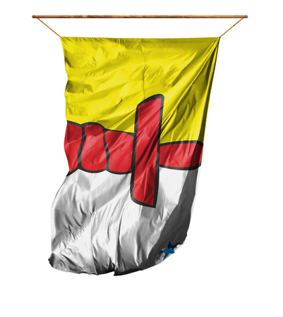Flag of Nunavut. Vertical flag.Isolated on a white background. Stock Photo