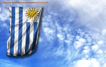 Flag of Uruguay. Vertical flag, against blue sky with place for your text Archivio Fotografico - 113028243