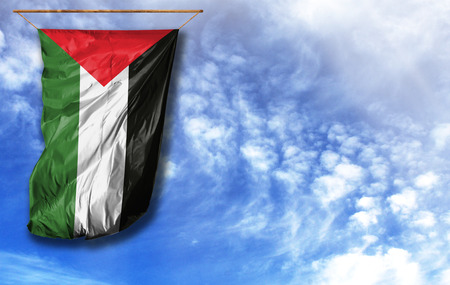 Flag of Palestine. Vertical flag, against blue sky with place for your text