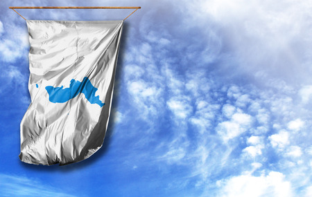 Flag of Korean Unification. Vertical flag, against blue sky with place for your text