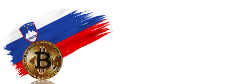 Painted brush stroke in the flag of Slovenia. Bitcoin cryptocurrency banner with isolated on white background with place for your text. 免版税图像