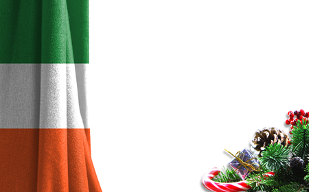 Christmas background with flag of Ireland. There is a place for your text in the photo.