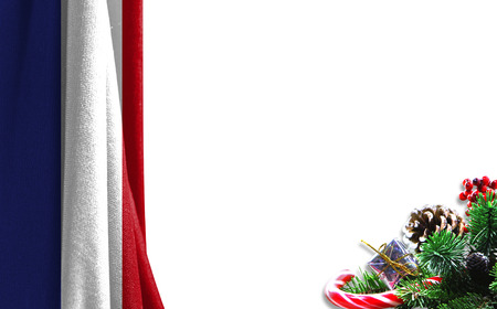 Christmas background with a flag of the Netherlands. There is a place for your text in the photo. Foto de archivo