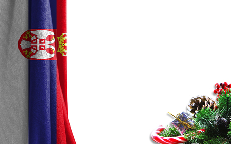 Christmas background with a flag of Serbia. There is a place for your text in the photo. 版權商用圖片
