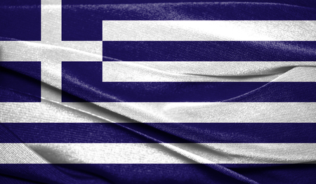 Realistic flag of Greece on the wavy surface of fabric. Perfect for background or texture purposes.