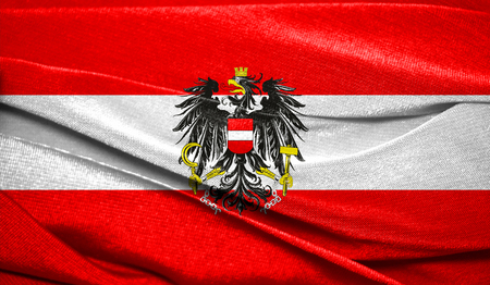Realistic flag of Austria on the wavy surface of fabric. Perfect for background or texture purposes.