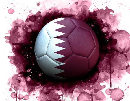 Soccer ball with flag of Qatar, close up, watercolor effect on white background.