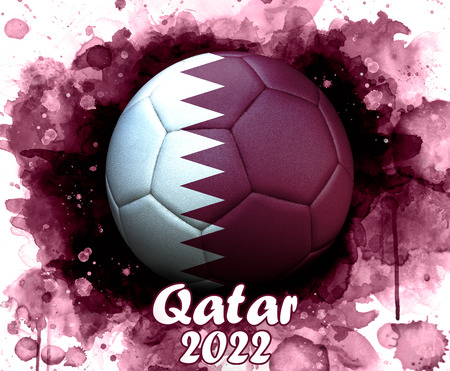 Soccer ball with flag of Qatar, close up, watercolor effect on white background. Stock Photo