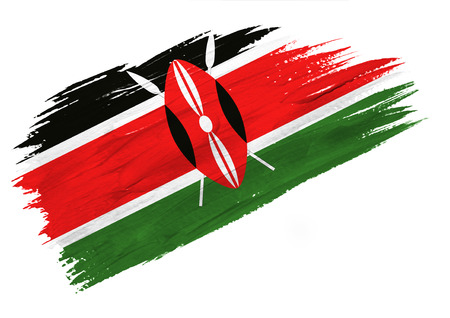 Brush painted Kenya flag. Hand drawn style illustration