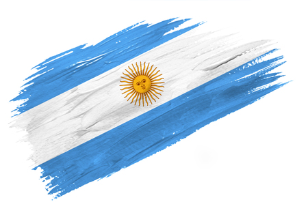 Brush painted Argentina flag. Hand drawn style illustration