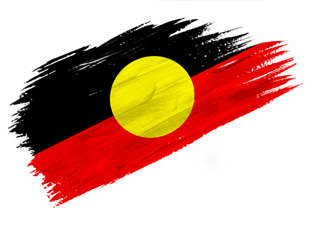 Brush painted Australian Aboriginal flag. Hand drawn style illustration Imagens