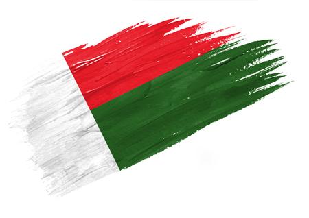 Brush painted Madagascar flag. Hand drawn style illustration