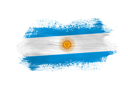 brush painted flag of Argentina isolated on white background.