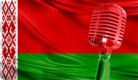 Microphone on fabric background of flag of Belarus close-up Stock Photo