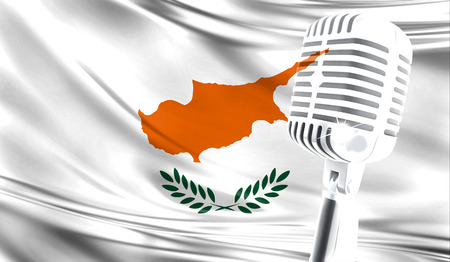 Microphone on fabric background of flag of Cyprus close-up