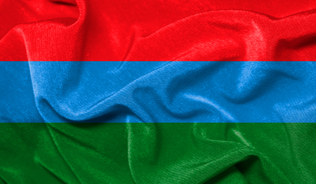Realistic flag of Karelia on the wavy surface of fabric
