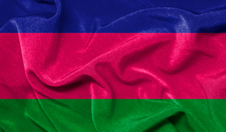 Realistic flag of Kuban peoples republic on the wavy surface of fabric